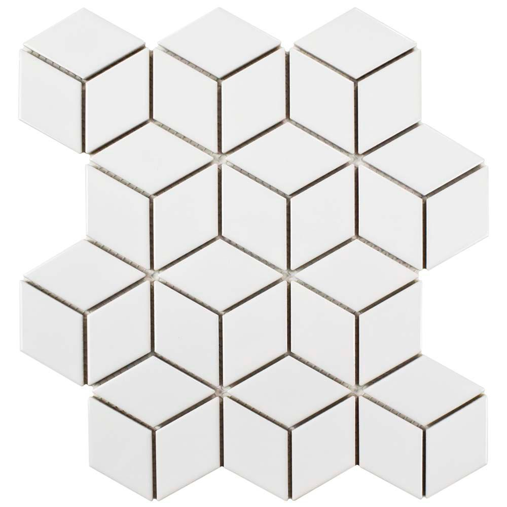 Merola Tile Metro Rhombus Glossy White 10-1/2 in. x 12-1/8 in. x 5 mm Porcelain Mosaic Tile (9.04 sq. ft. / case)