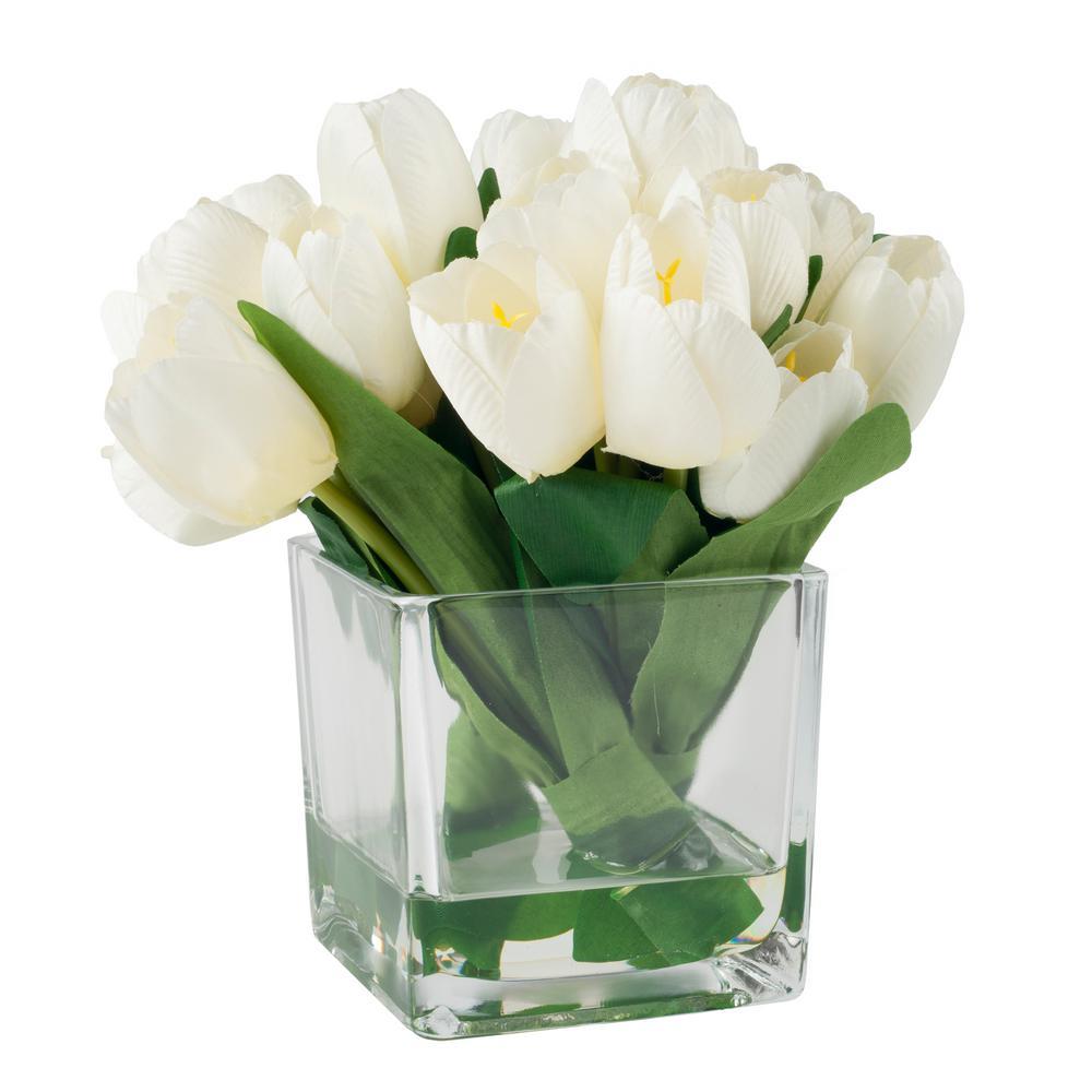 8.5 in. Tulip Floral Cream Arrangement