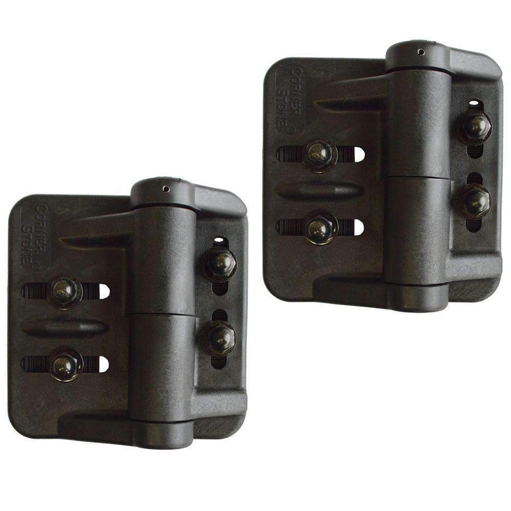 Black Nylon Polymer Self-Closing Multi-Adjustable Gate Hinges (2-Pack)