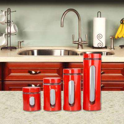 4-Piece Steel Canister in Red