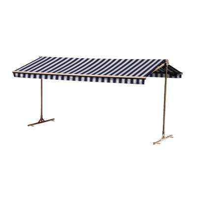 12 ft. Oasis Freestanding Motorized Retractable Awning (120 in. Projection) with Remote in Navy