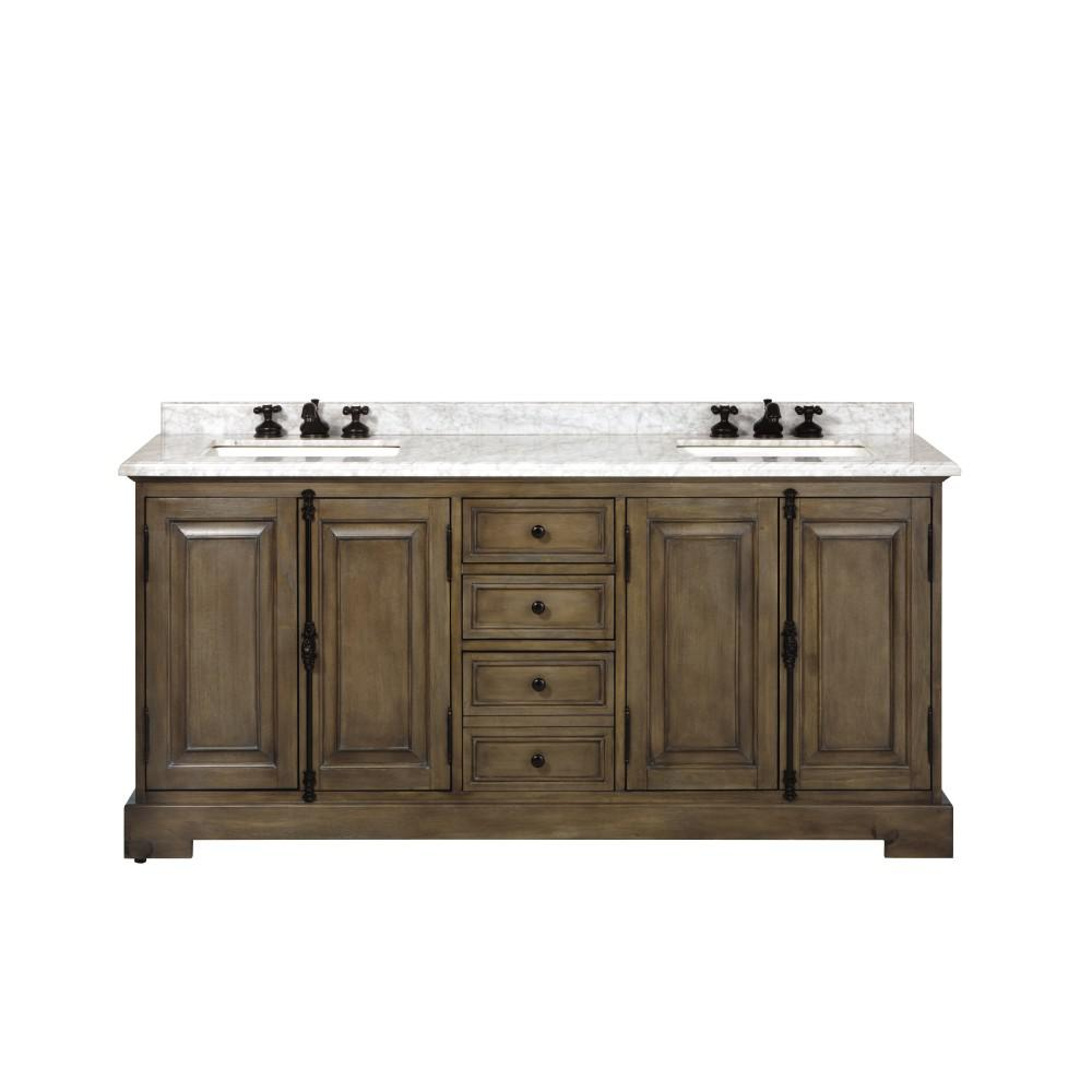 Home Decorators Collection Clinton 72 in. W Double Vanity in Almond Latte with Natural Marble Vanity Top in White with White Sink