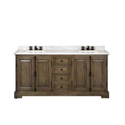 Clinton 72 in. W Double Vanity in Almond Latte with Natural Marble Vanity Top in White with White Basin