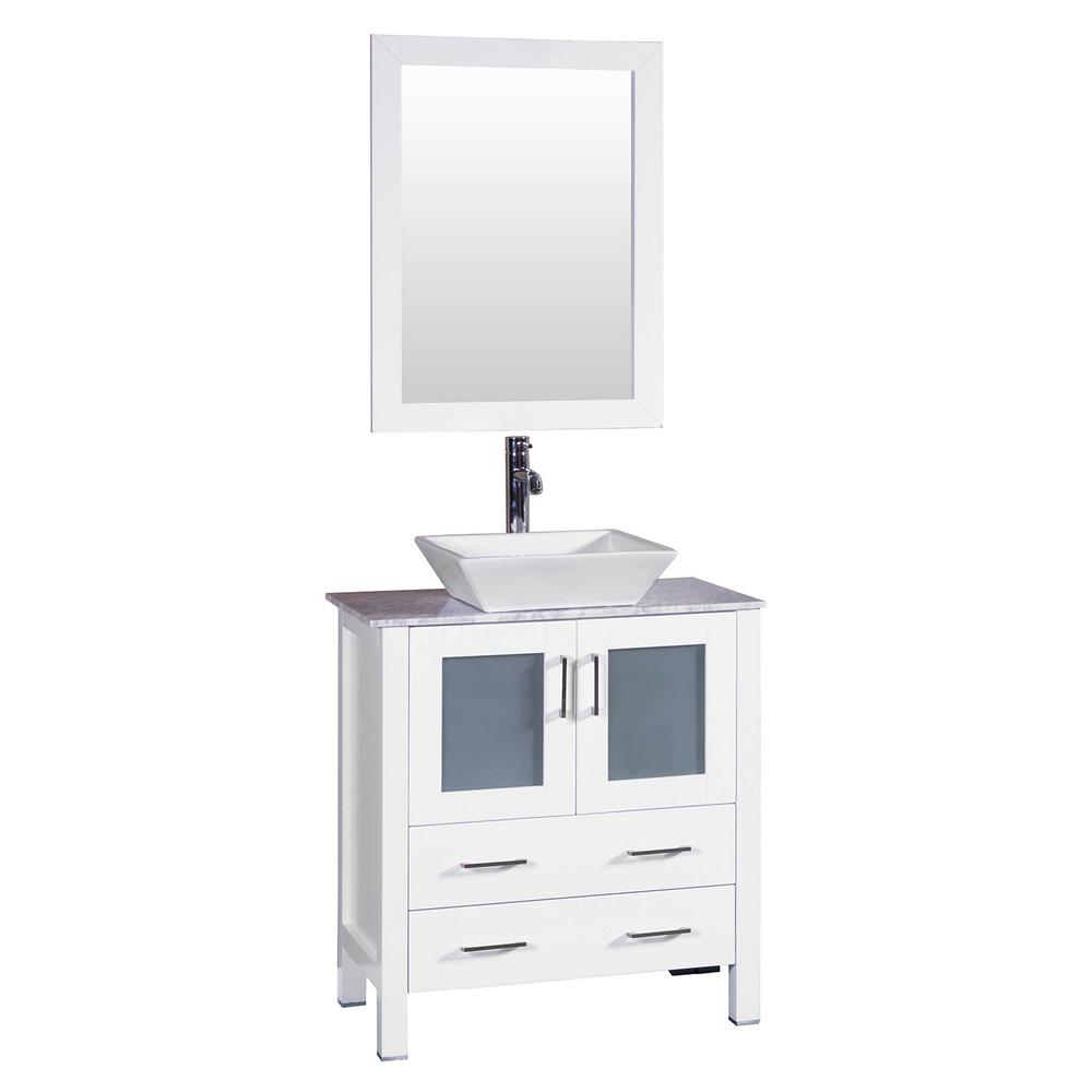 30 in. W Single Bath Vanity in White with Carrara Marble