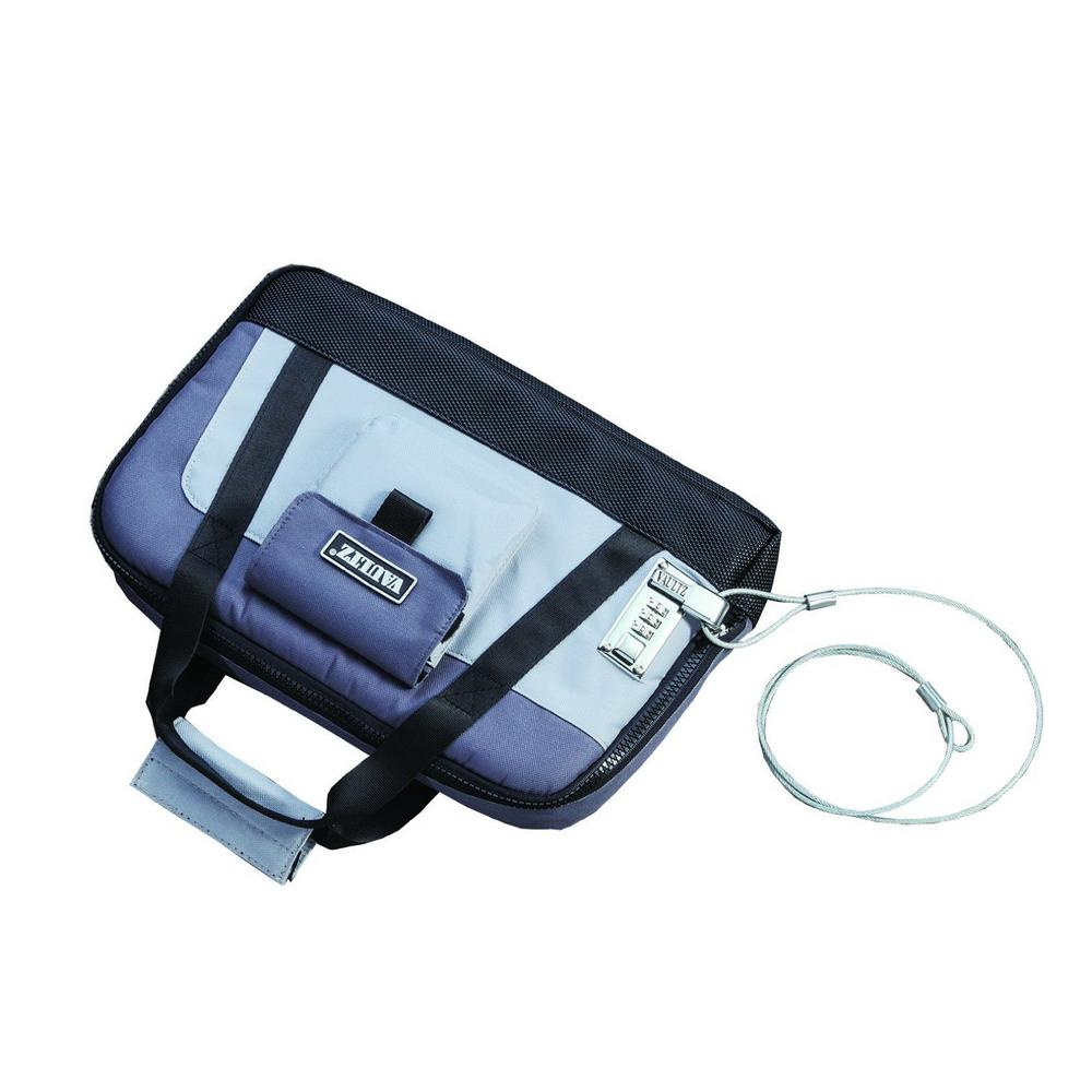 Vaultz Locking Pistol Case w/Security Tether-Soft-Sided, Gray/Black