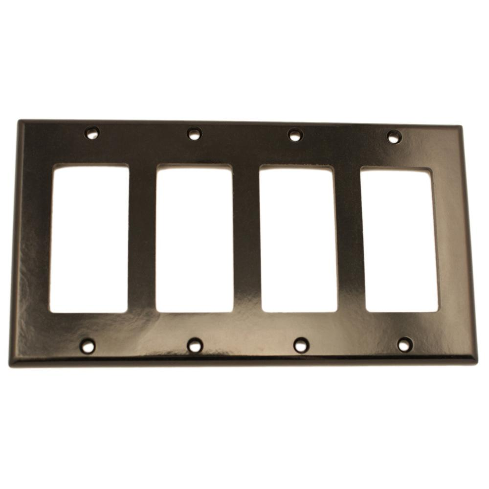 Black Switch Plates Impressive Leviton 4Gang Decora Wall Plate Black80412E  The Home Depot Design Decoration