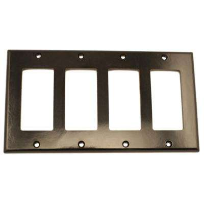4-Gang Decora Wall Plate, Black