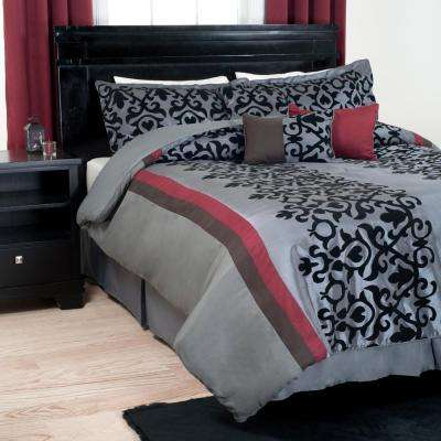 Leah 7-Piece Black Scroll Queen Comforter Set