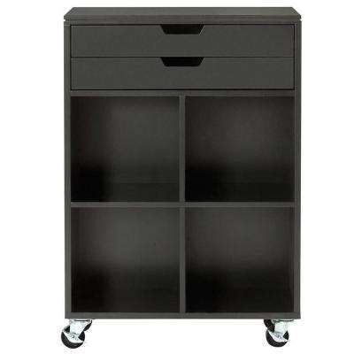 Avery 4-Cube MDF Mobile Cart in Black