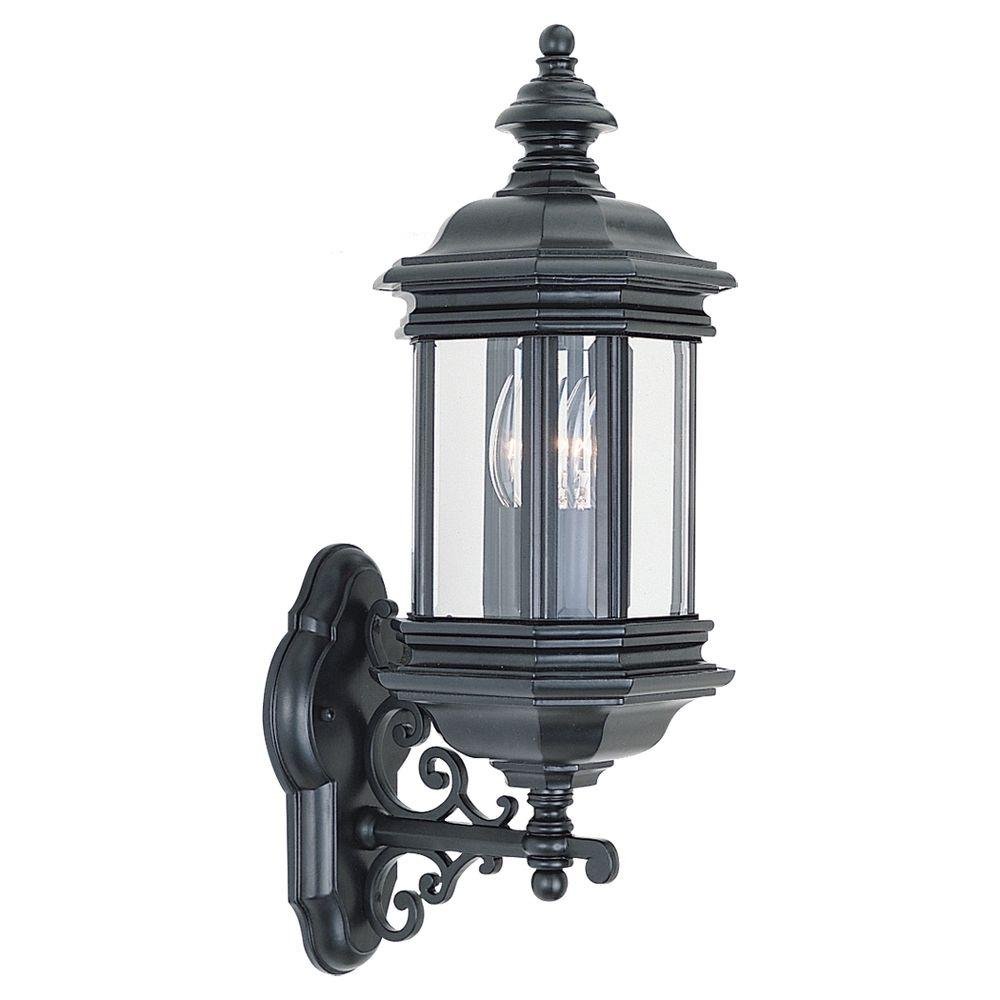 Sea gull lighting yorktown 1 light black outdoor wall - Exterior wall mount light fixtures ...
