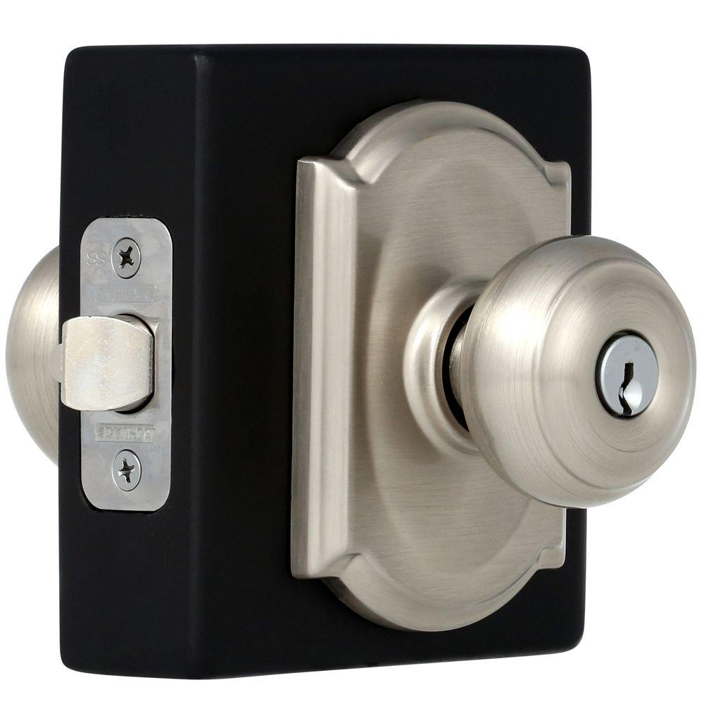 Schlage Georgian Satin Nickel Entry Door Knob With Camelot Trim