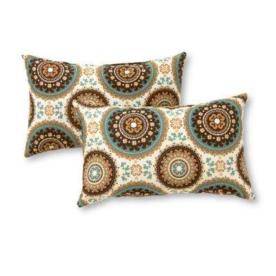 Spray Medallion Lumbar Outdoor Throw Pillow (2-Pack)