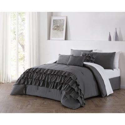 Reese 5-Piece Gray Twin Ruffle Comforter Set with Throw Pillows