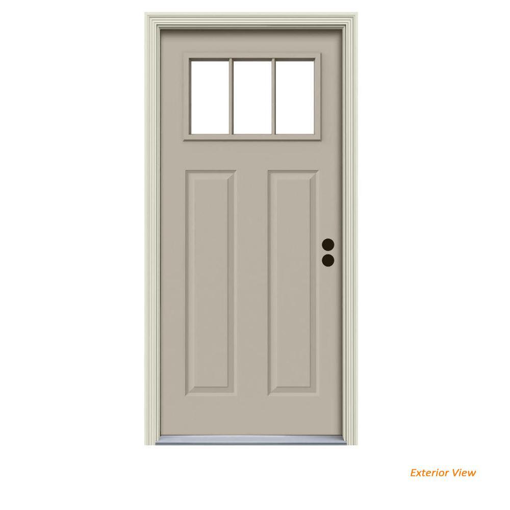 32 in. x 80 in. 3 Lite Craftsman Desert Sand Painted Steel Prehung Left-Hand Inswing Front Door w/Brickmould