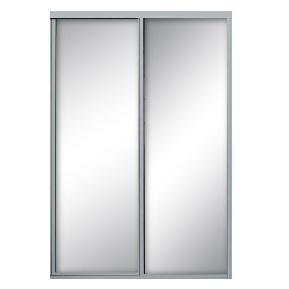 48 in. x 81 in. Concord Satin Clear Aluminum Framed Mirror Sliding Door