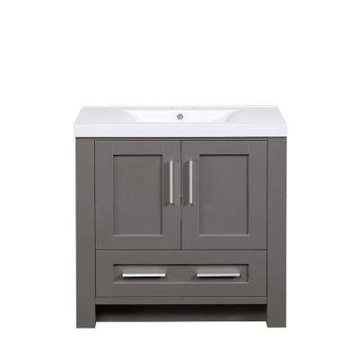 35.37 in. W x 18.12 in. D x 34.00 in. H Vanity in Grey with Cultured Marble Vanity Top in White with White Basin
