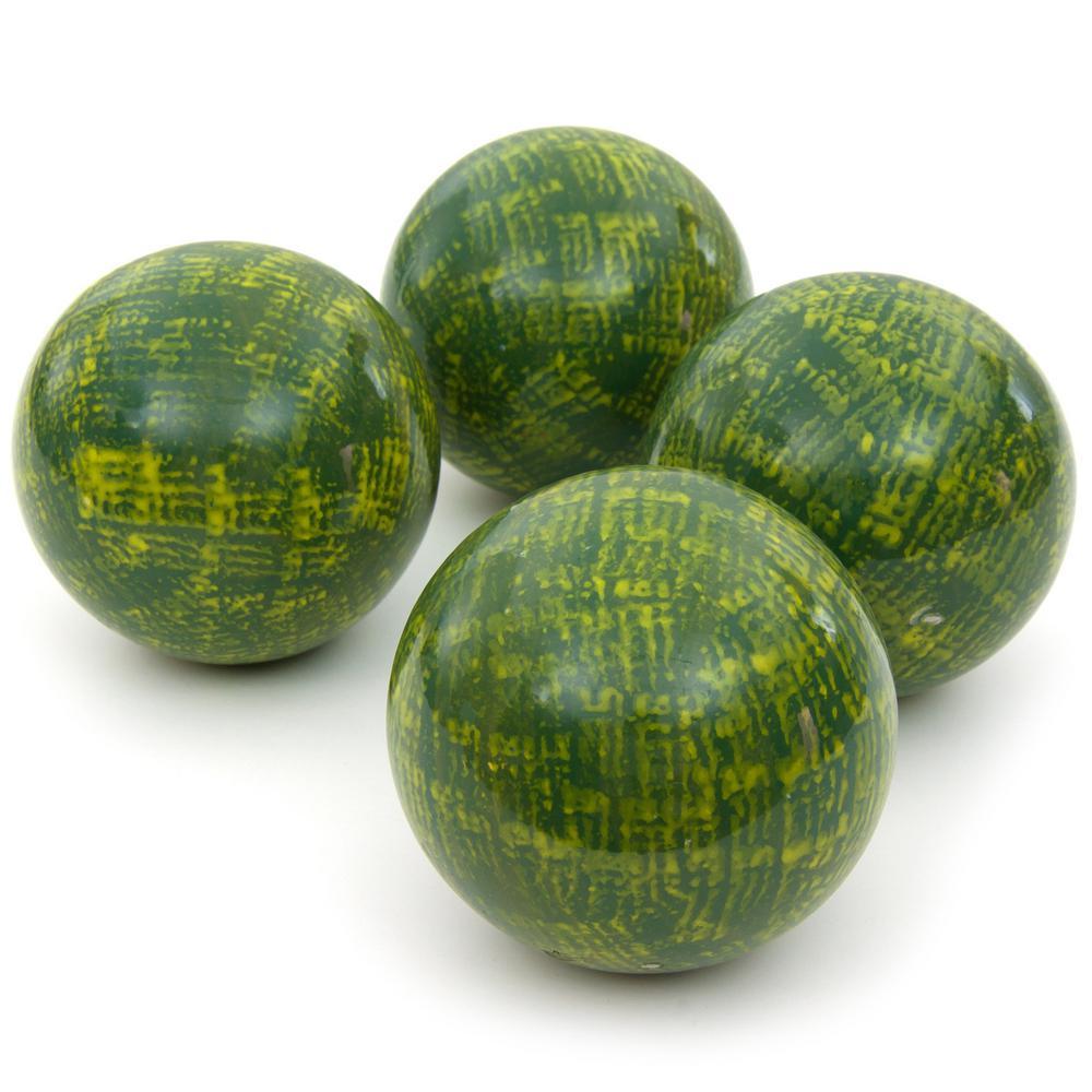 Oriental Furniture 4 in. Green Porcelain Ball Set