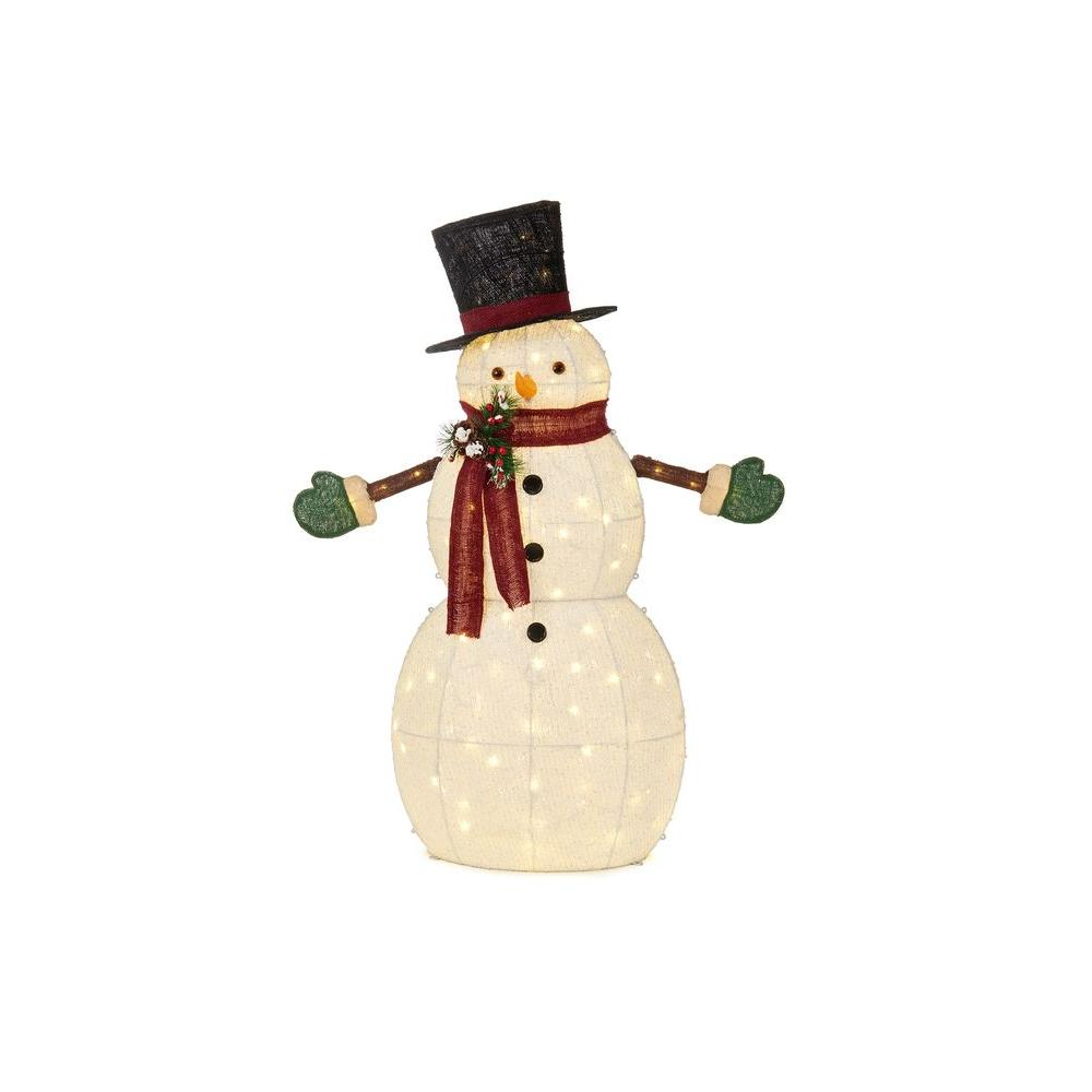 49.5 in. LED Lighted Cotton Snowman with Top Hat