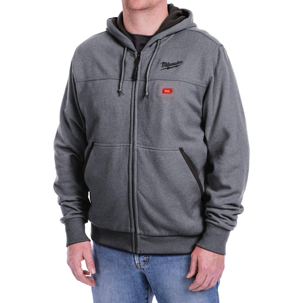M12 12-Volt Lithium-Ion Cordless Gray Heated Hoodie (Hoodie-Only) - Extra-Large