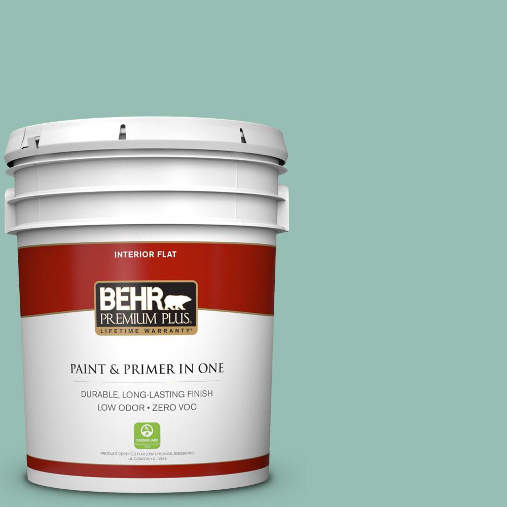 BEHR Premium Plus 5 gal. #PPU12-07 Spring Stream Flat Low Odor ...