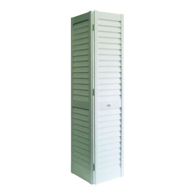 24 in. x 80 in. 3 in. Louver/Louver White PVC Composite Interior Closet Bi-Fold Door