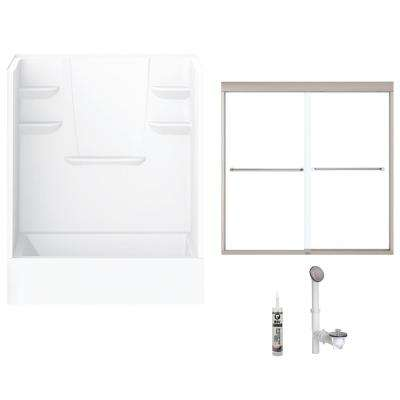 60 in. x 32 in. x 82 in. Bath and Shower Kit with Right-Hand Drain and Door in White and Brushed Nickel Hardware