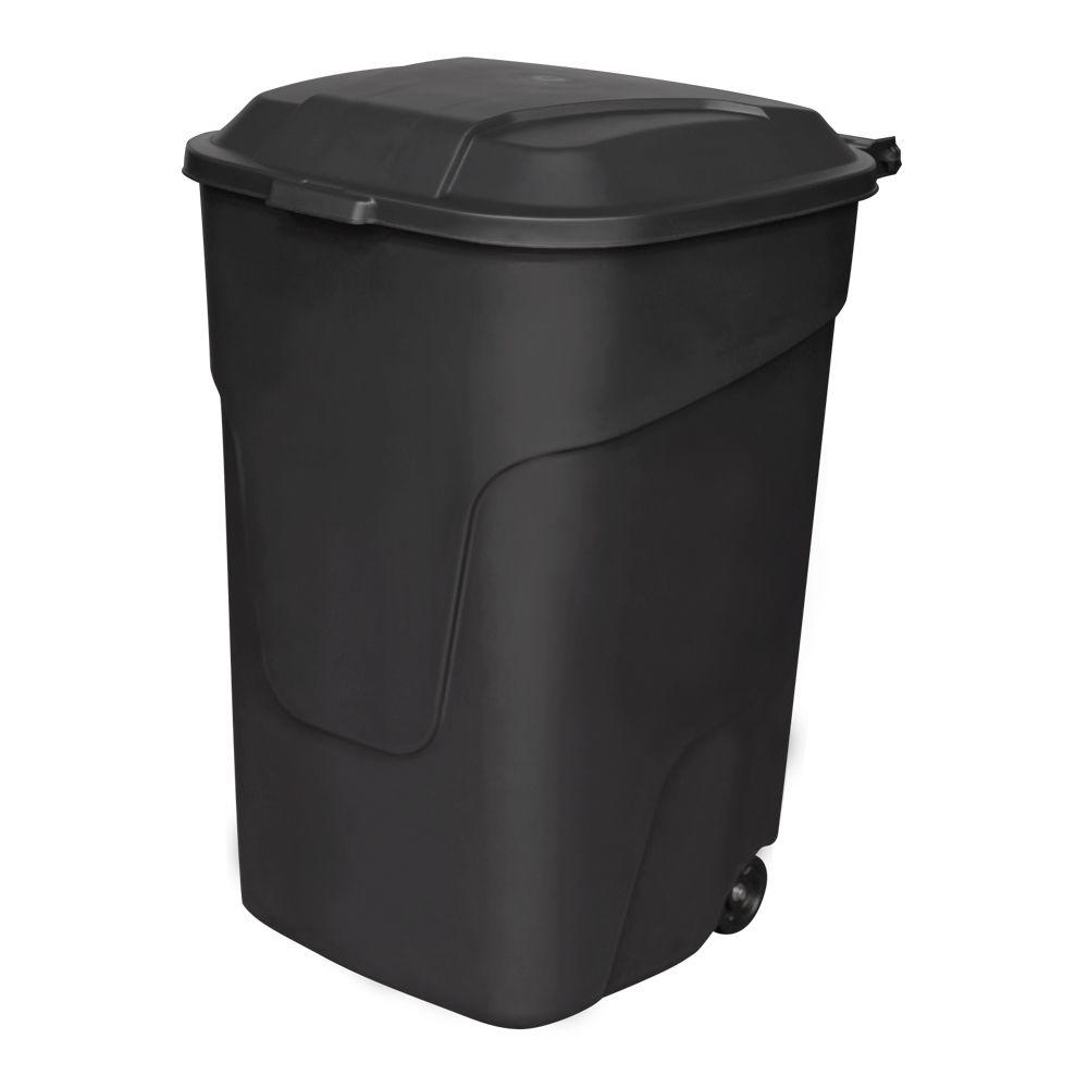 45 Gal. Black Multi-Purpose Plastic Trash Can with Wheels and Attached