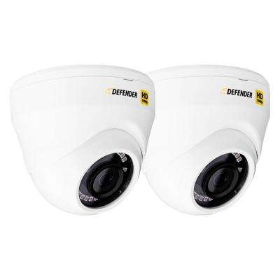 HD 1080p Wired Indoor or Outdoor Long Range Night Vision Dome Security Standard Surveillance Camera (2-Pack)