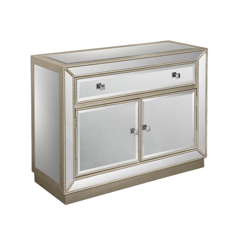 Estaline Champagne and Mirror 1-Drawer 2-Door Cabinet