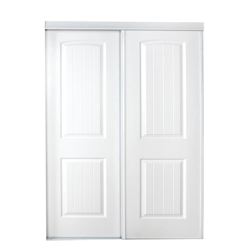 71 in. x 80 in. 107 Series Primed 2 Panel Bead Board Curved Primed MDF Sliding Door