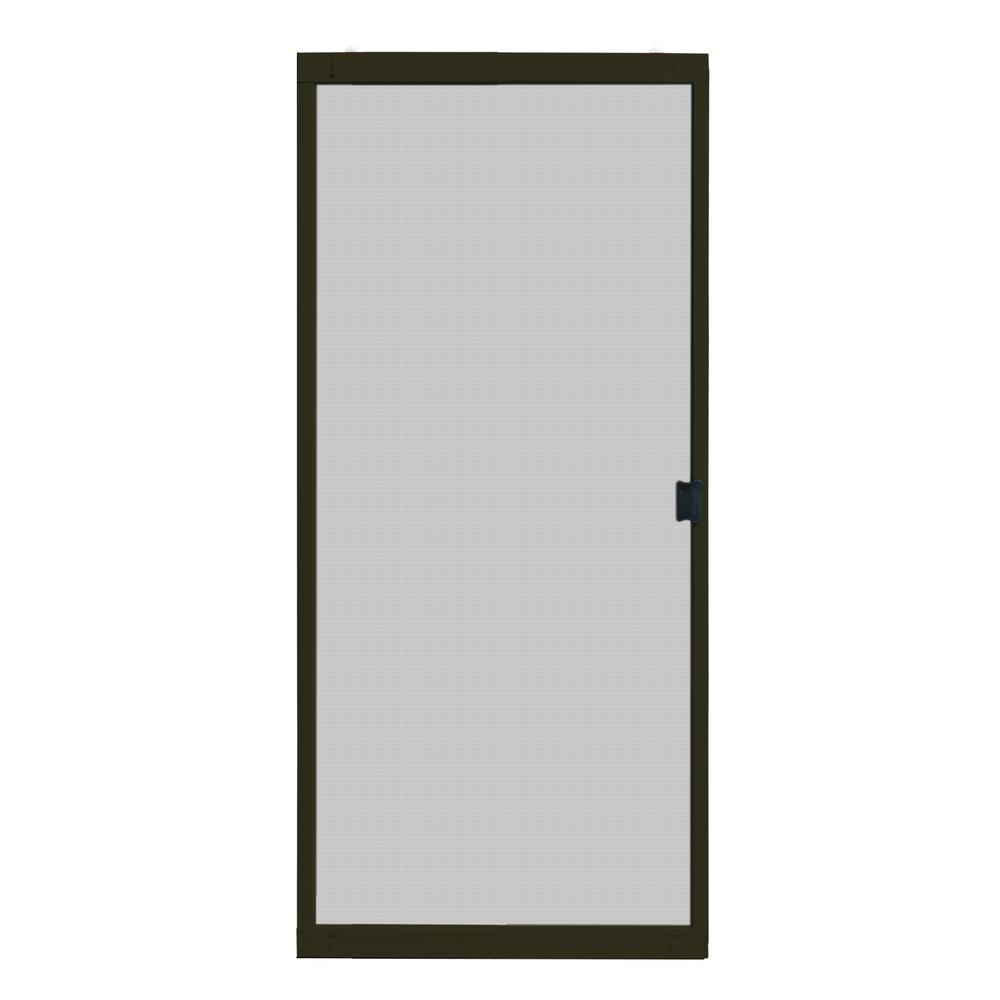 36 in. x 80 in. Adjustable Fit Bronze Metal Sliding Patio Screen Door