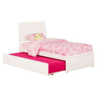 Portland White Twin Platform Bed with Flat Panel Foot Board and Twin Size Urban Trundle Bed