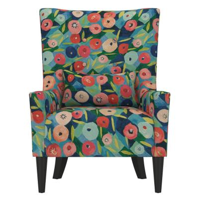 Venecia Vibrant Poppy Floral Shelter High Back Wing Chair