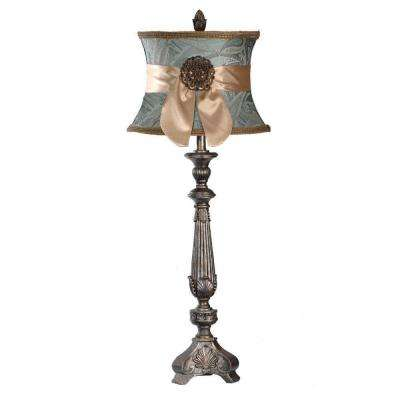 37.5 in. Verde Gold Ornate Carved Buffet Lamp