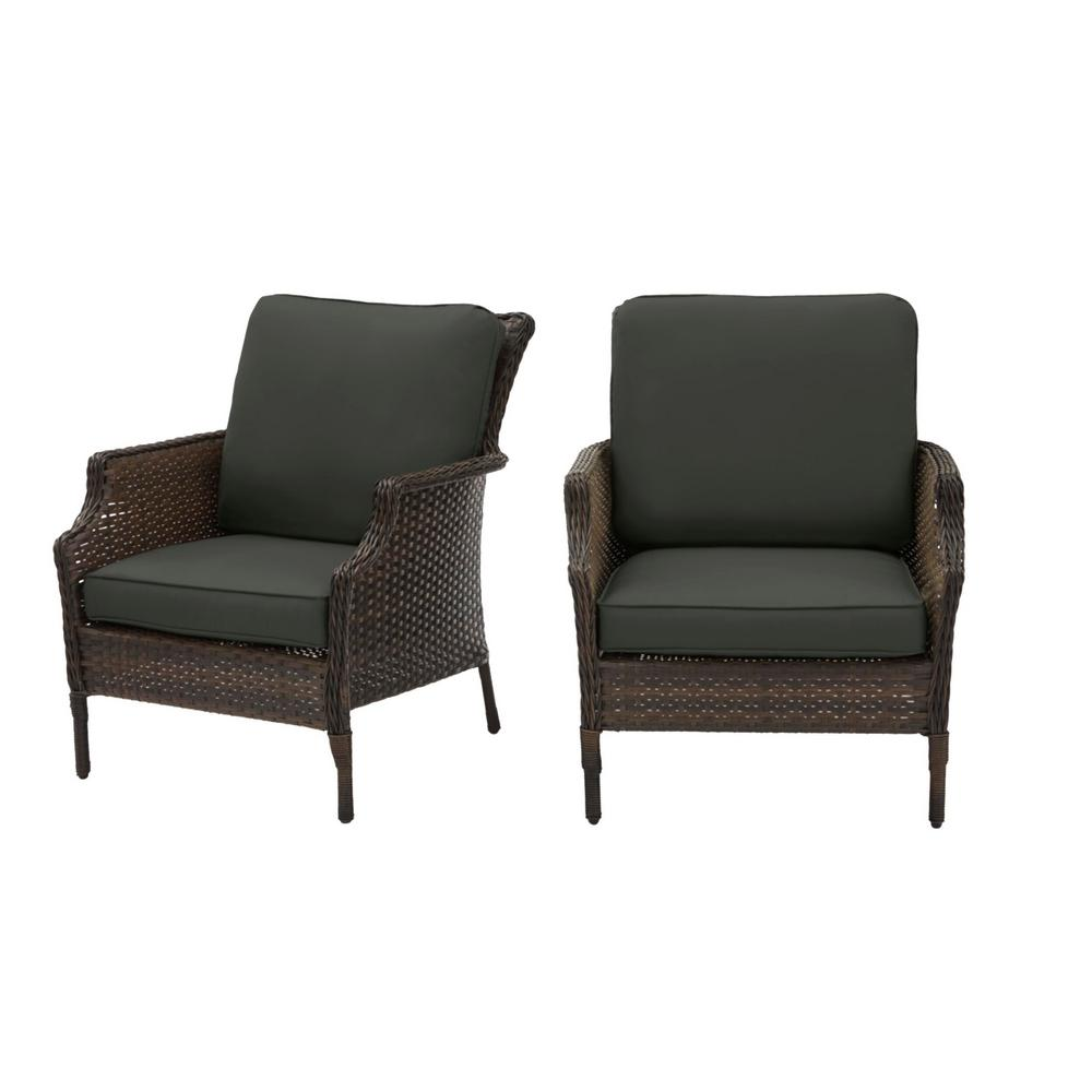 Hampton Bay Grayson Brown Wicker Outdoor Patio Lounge with CushionGuard Graphite Dark Gray Cushions (2-Pack) was $299.0 now $239.2 (20.0% off)