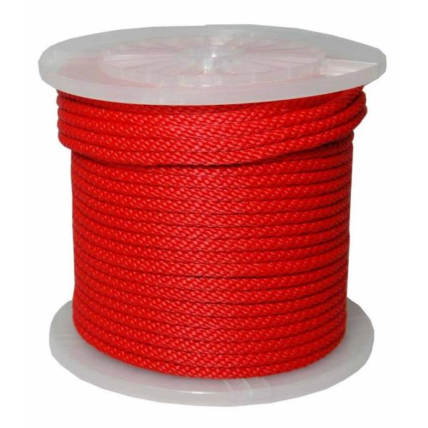 3/8 in. x 500 ft. Solid Braid Multifilament Polypropylene Derby Rope in Red