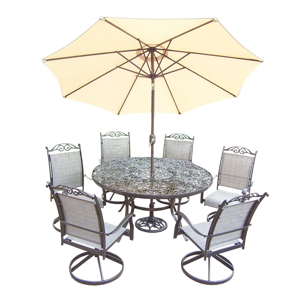 Black 9-Piece Aluminum Outdoor Dining Set and Beige Umbrella