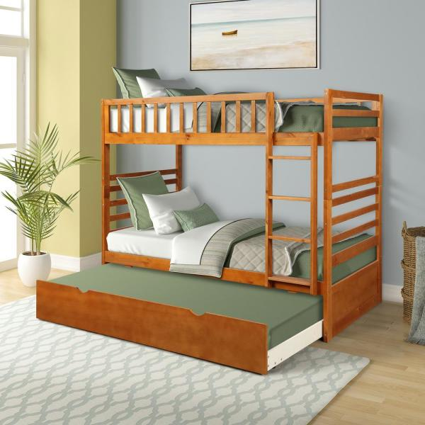 Oak Twin Over Twin Solid Wood Bunk Bed with Trundle