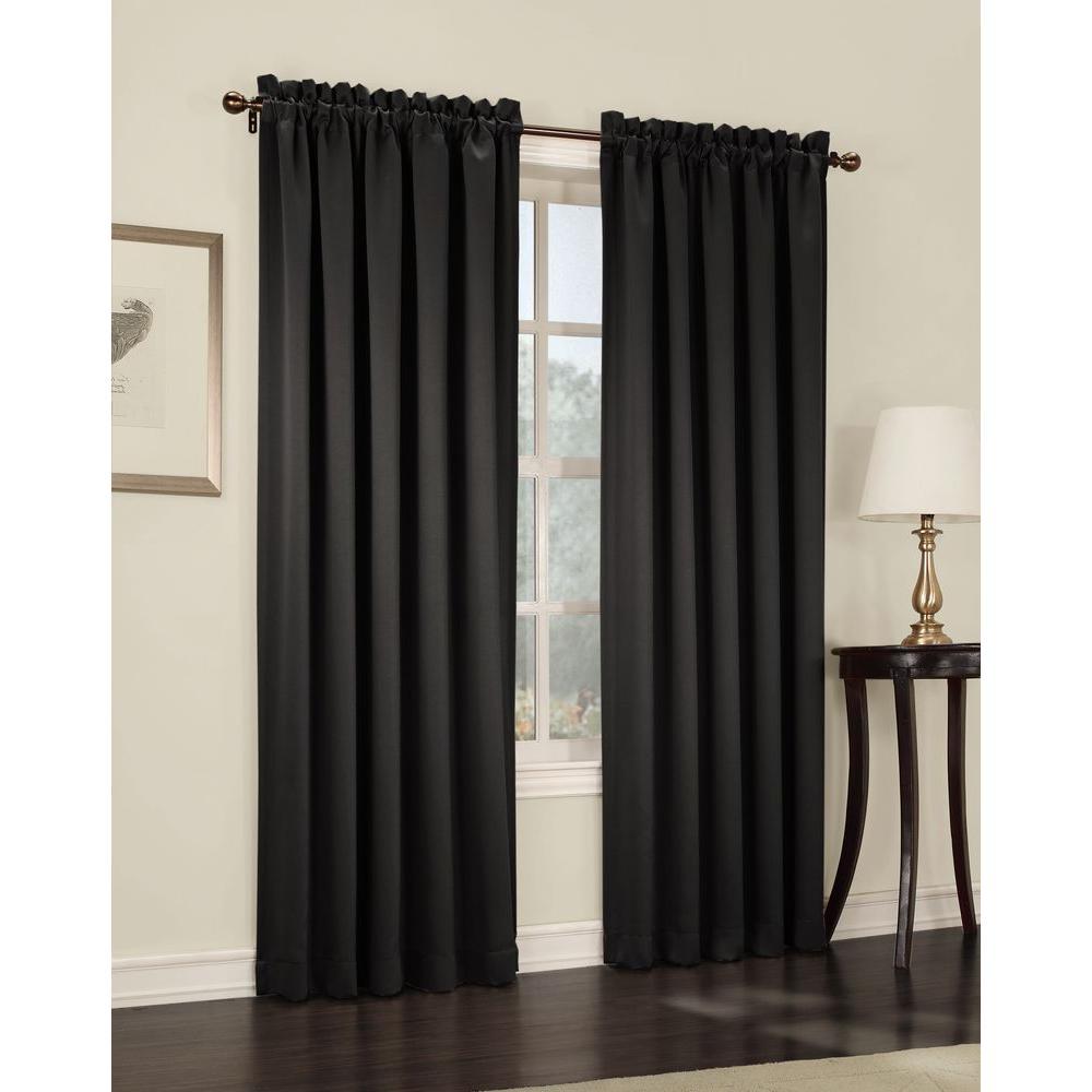 Semi-Opaque Black Gregory Room Darkening Pole Top Curtain Panel, 54 in. W x 63 in. L