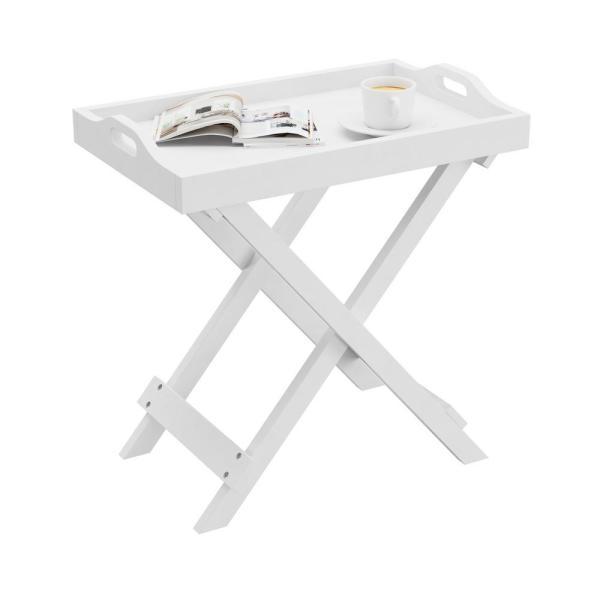 White Wooden Folding End Table