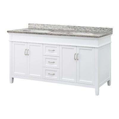 Ashburn 61 in. W x 22 in. D Vanity in White with Granite Vanity Top in Santa Cecilia with White Sink