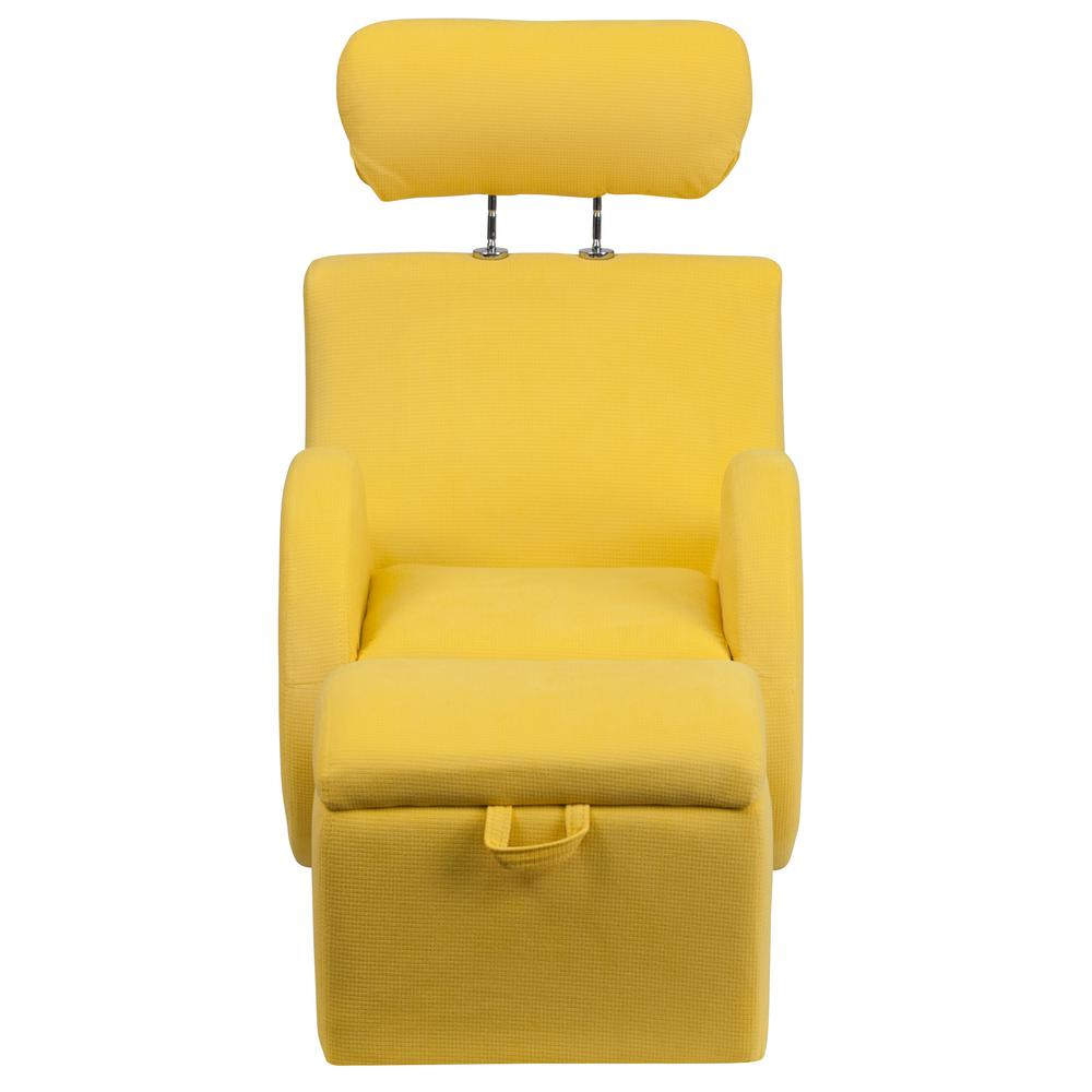Flash Furniture Hercules Series Yellow Fabric Rocking Chair With Storage  Ottoman