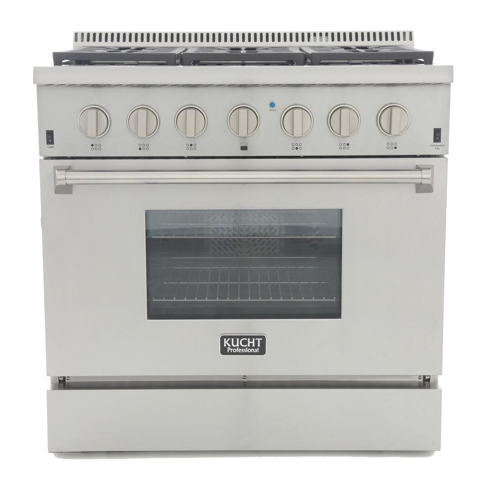 Kucht Professional Style 36 in. 5.2 cu. ft. Propane Dual Fuel Range with  Sealed Burners and Convection Oven in Stainless Steel