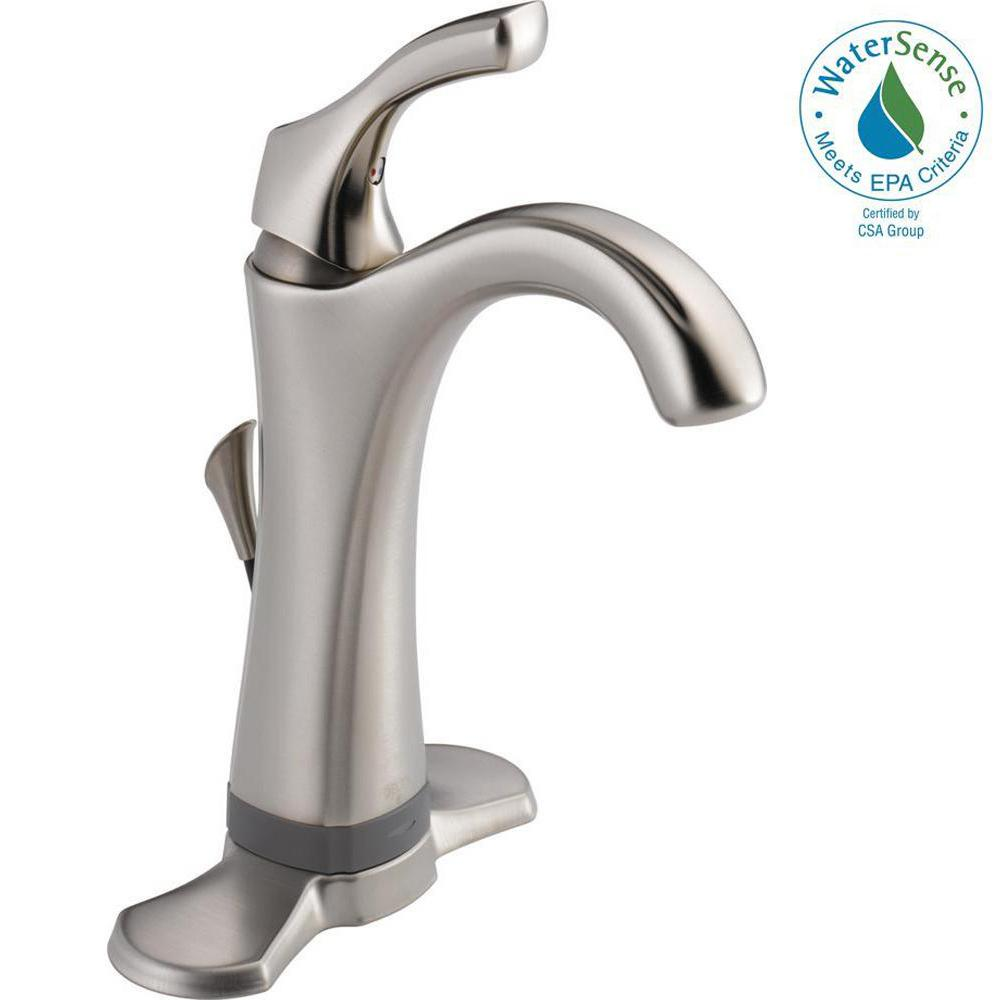 Delta Addison Single Hole Single-Handle Bathroom Faucet with Touch2O.xt Technology in Stainless