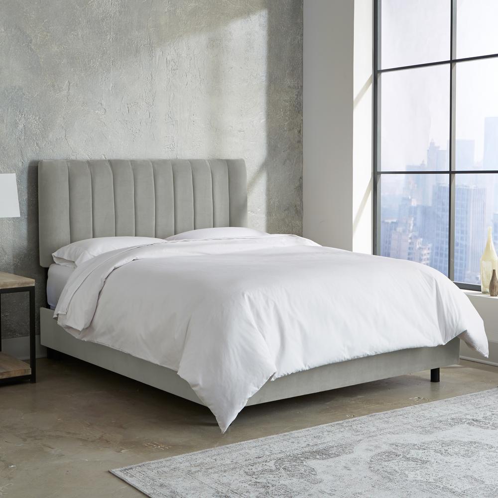 Queen Channel Seam Bed In Velvet Light Grey 3652bedvlvlghgr The