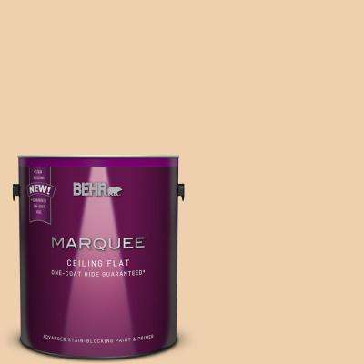 1 gal. #MQ3-43 Tinted to Ceramic Beige One-Coat Hide Flat Interior Ceiling Paint and Primer in One