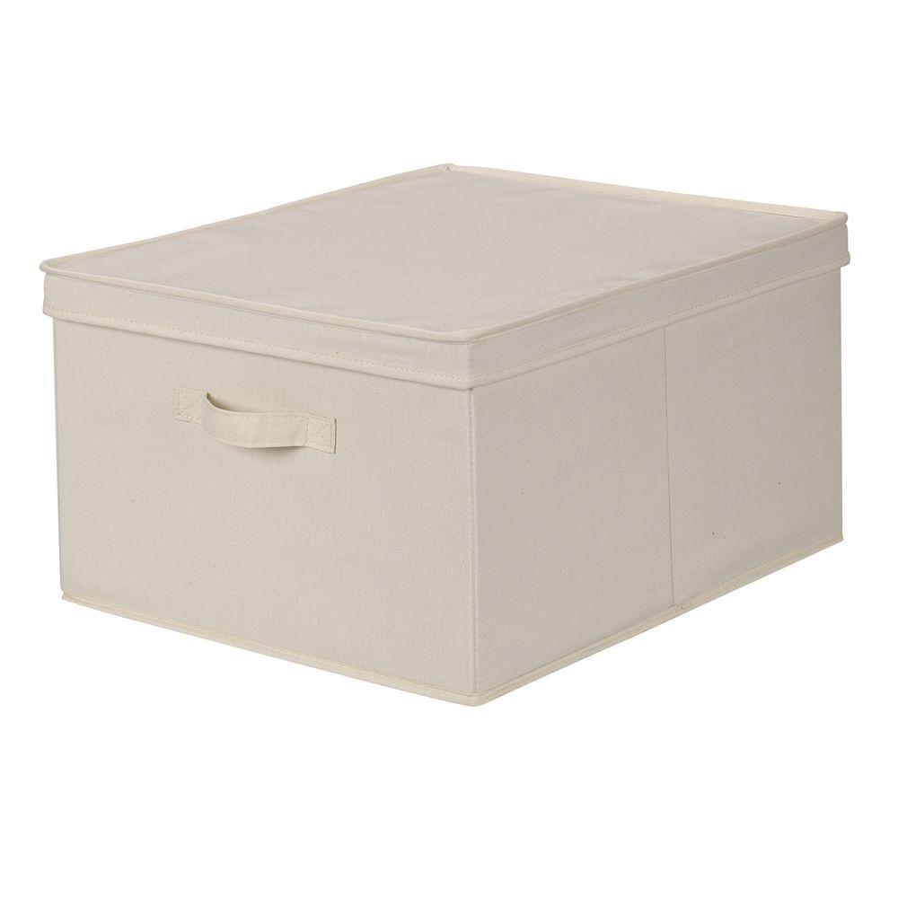 Household Essentials 16 in. x 19 in. Natural Canvas Jumbo Storage Box