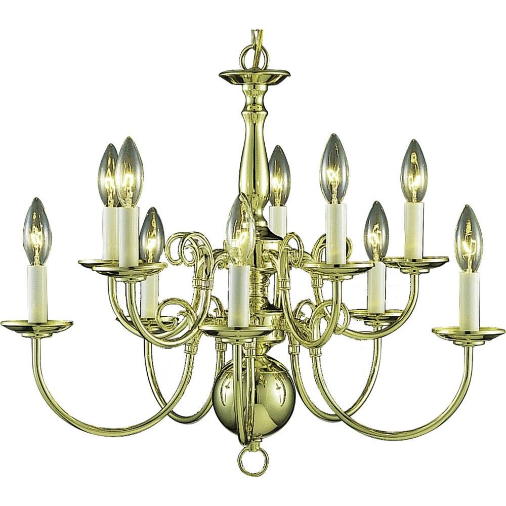 Volume Lighting 10 Light Polished Brass Interior Chandelier