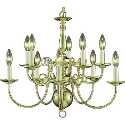 10-Light Polished Brass Interior Chandelier