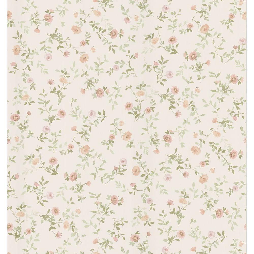 Cottage Living Off White Wash Floral Wallpaper Sample